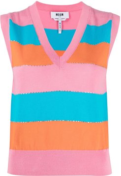 striped knitted top - PINK