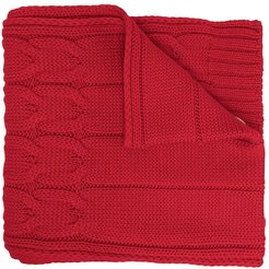 logo-patch cable knit scarf - Red