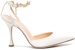 pointed chain-link strap pumps - White