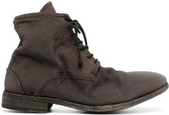 chunky lace-up leather boots - Brown