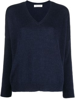 fine knit V-neck jumper - Blue