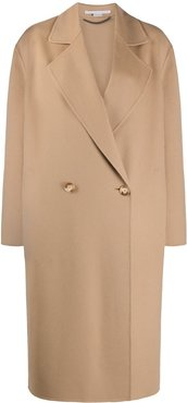 oversized double-breasted wool coat - Brown