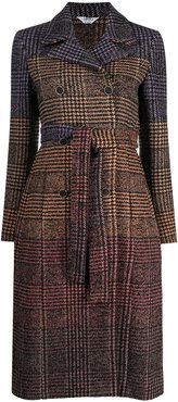 checked double breasted coat - Brown