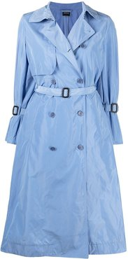 double breasted taffeta trench - Blue