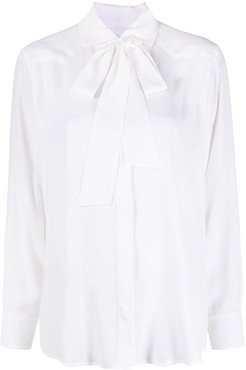 lightweight pussy-bow shirt - White