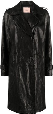 double-breasted mid-length coat - Black
