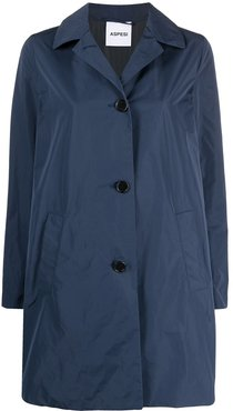 button-front trench coat - Blue