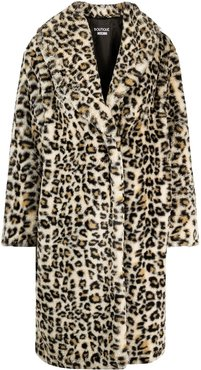 leopard print single-breasted overcoat - Neutrals