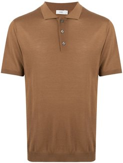 short-sleeved wool polo shirt - Brown
