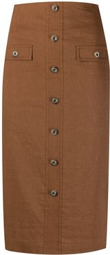buttoned pencil skirt - Brown