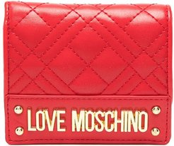 logo-plaque quilted wallet - Red