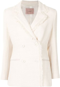 tweed double-breasted blazer - White