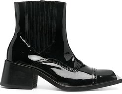 patent leather square-toe ankle boots - Black