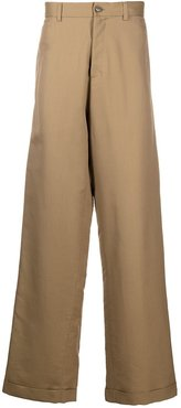 wide-leg cotton trousers - Neutrals