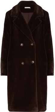 faux-fur double-breasted coat - Brown