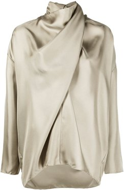 draped fluid blouse - Neutrals
