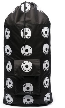 large smile print backpack - Black