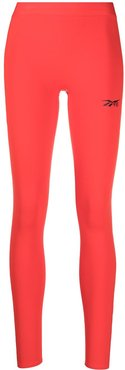 logo-print performance tights - Red