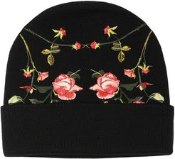 embroidered-rose beanie - Black
