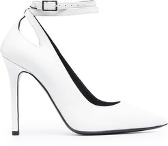 cut-out leather pumps - White