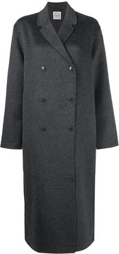 oversized double-breasted wool coat - Grey