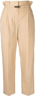 paperbag waist cropped trousers - Neutrals
