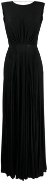 glitter-embellished pleated gown - Black