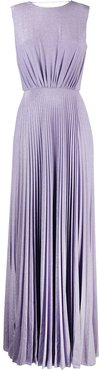 glitter-embellished pleated gown - PURPLE