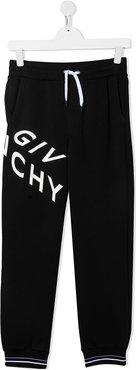 TEEN logo-print track trousers - Black