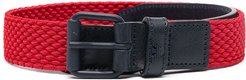 buckle-fastening two-tone belt - Red