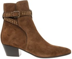 Jodhpur West Ankle Boot In Brown Suede With Studs