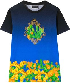 Blue T-shirt With Multicolor Press