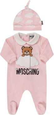 Pink Suit With Teddy Bear And Clouds For Baby Girl