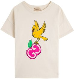 Jersey T-shirt With Gg Apple Print