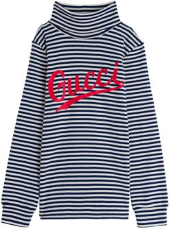 Striped Cotton Sweater With Logo