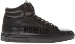 Black Leather High Top Logo Sneakers