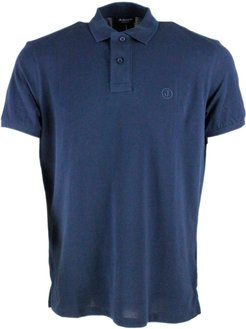 Short-sleeved Polo Shirt In Extra-fine Stretch Cotton With Two Buttons With Slits At The Bottom
