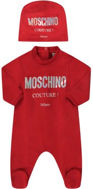 Red Suit For Babykid With Logo