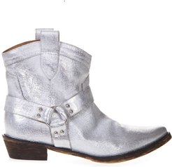 Silver Fabric Texan Vintage Ankle Boots