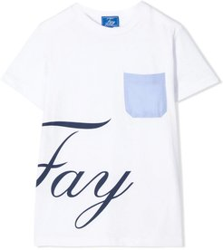 White And Blue Cotton T-shirt