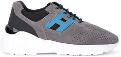 Active One Sneaker Made Of Gray Suede With H In Light Blue Leather