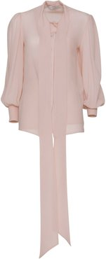 Blouse In Silk With Ascot Tie In Blush