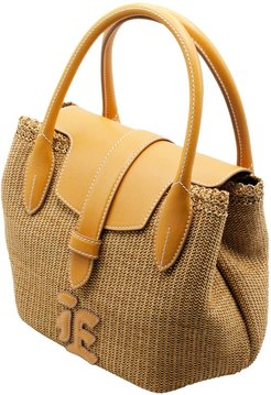 Raffia Handbag With Leather Inserts And Handles Measuring Cm. 30 X 21 X 15