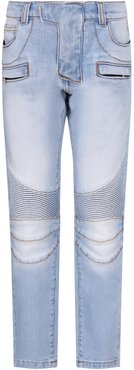 Light Blue Jeans With Silver Logo For Boy