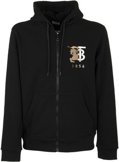 Contrast Logo Graphic Cotton Hooded Top