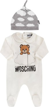 White And Grey Suit With Teddy Bear And Clouds For Babykid