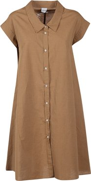 Capped Sleeve Buttoned Dress