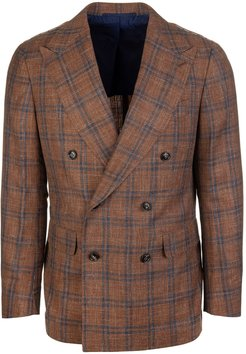 Light Brown Gualdo Checked Wool And Linen Jacket