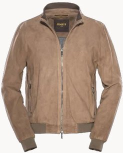 camel colored bomber Made of suede and perforated lamb