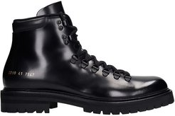Hiking Combat Boots In Black Leather